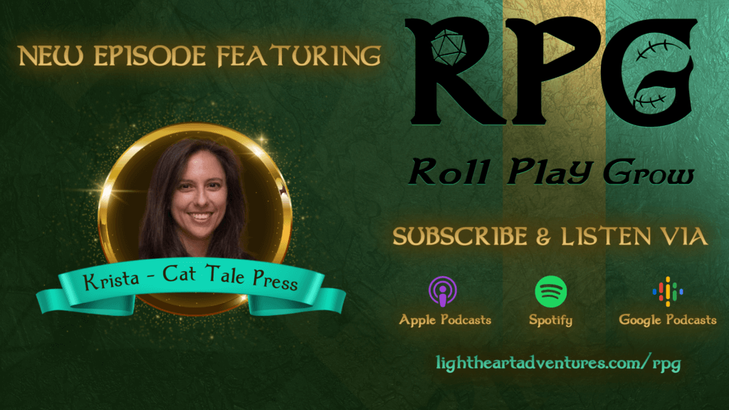 Header image of Krista detailing that it's a new interview episode with Krista of Cat Tale Press